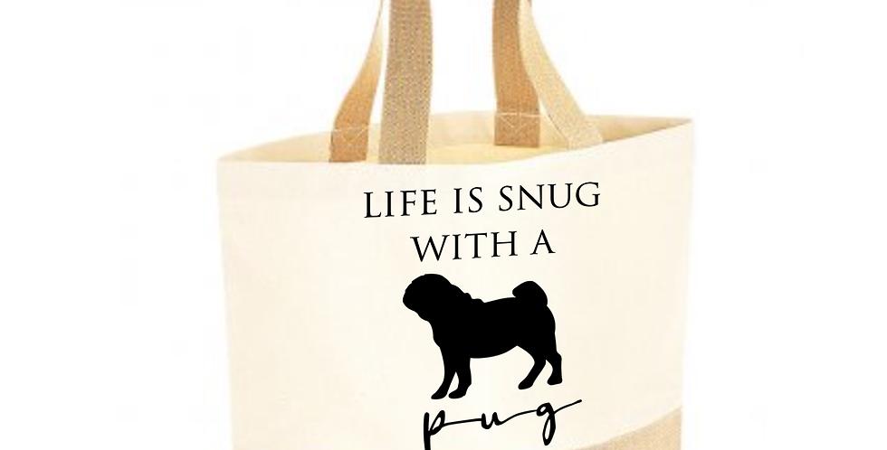 Classic Jute & Canvas Pug Shopper