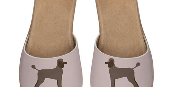 Leather Sliders - Playful Poodles