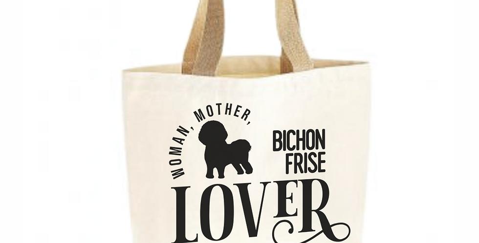Classic Jute & Canvas Bichon Frise Shopper