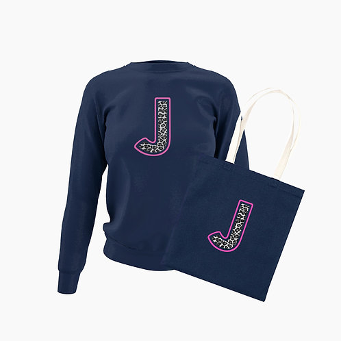 Women's Navy Leopard Initial Bundle