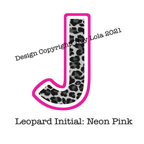 Leopard Initial - Neon Pink