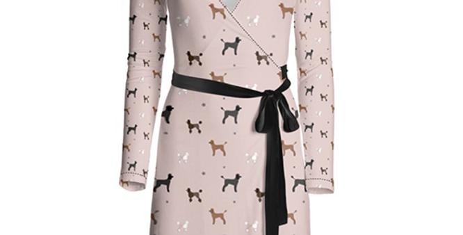 Multi Print Wrap Dress - Poodles