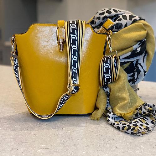 Designer Chain Bucket Bag - Mustard