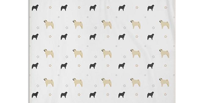 Grey Snuggly Fleece Blanket - Perfectly Pug