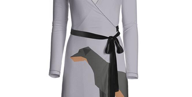 Big Dog Wrap Dress - Dazzling Dobermans