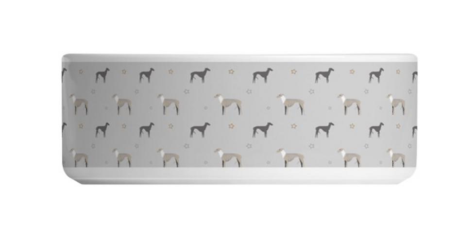 Grey Large Ceramic Dog Bowl - Whimsical Whippets