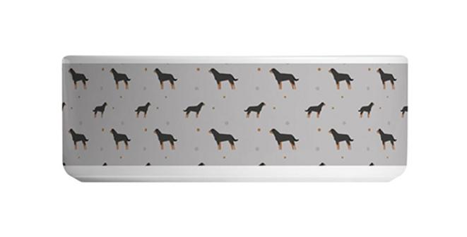Grey Large Ceramic Dog Bowl - Rock n Roll Rotties