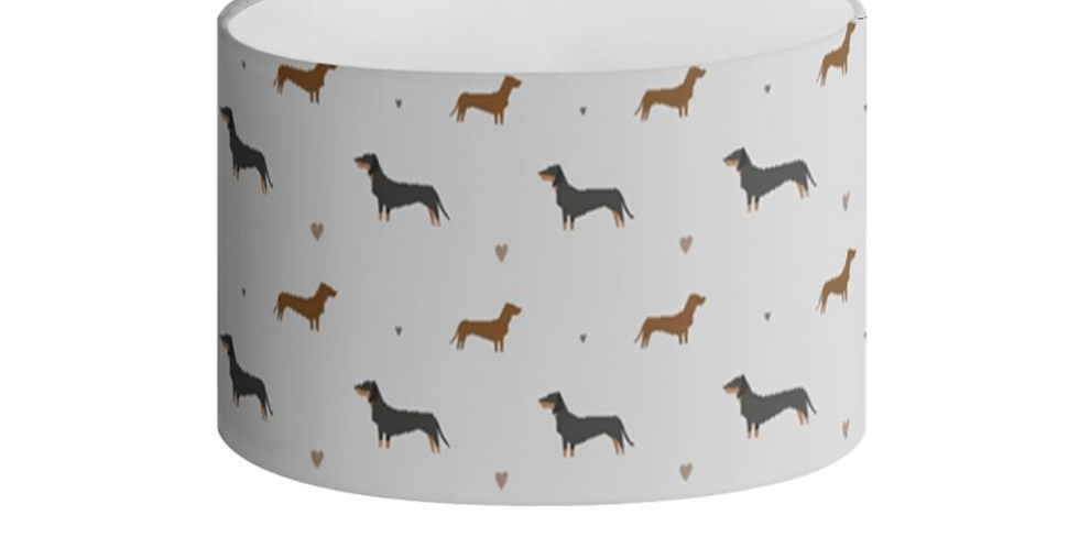 Grey Oval Lampshade - Slinky Sausages