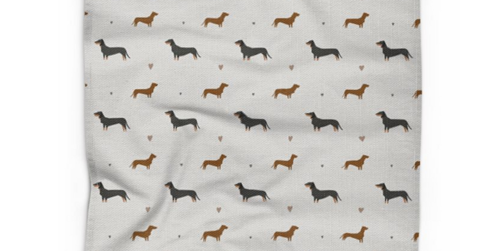 Grey Cotton Linen Tea Towel - Slinky Sausages