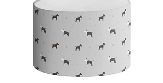 Grey Oval Lampshade - Sassy Staffies