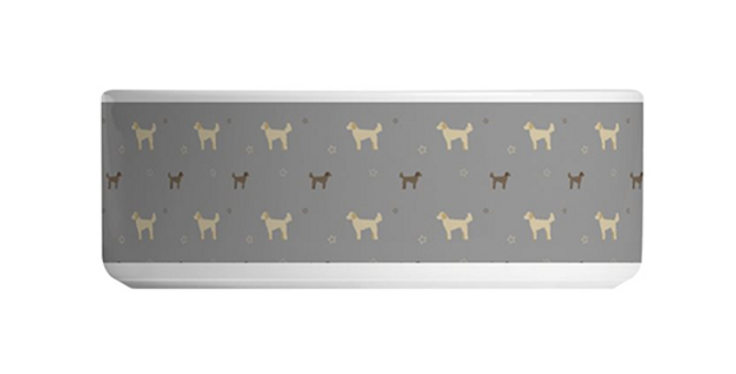 Grey Large Ceramic Dog Bowl - Dandy Doodles
