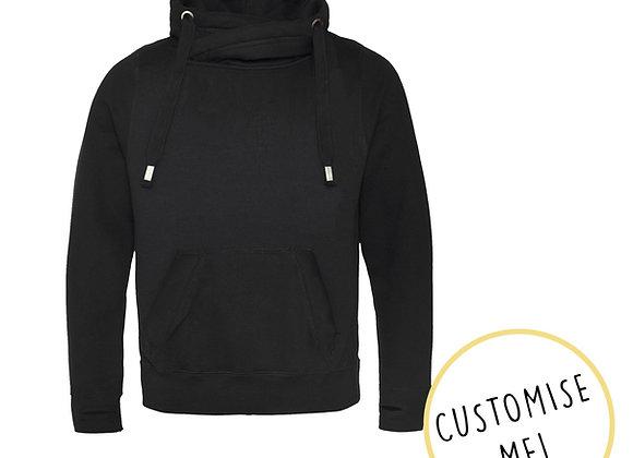 Plain or Custom Print Black Cowl Neck Hoodie