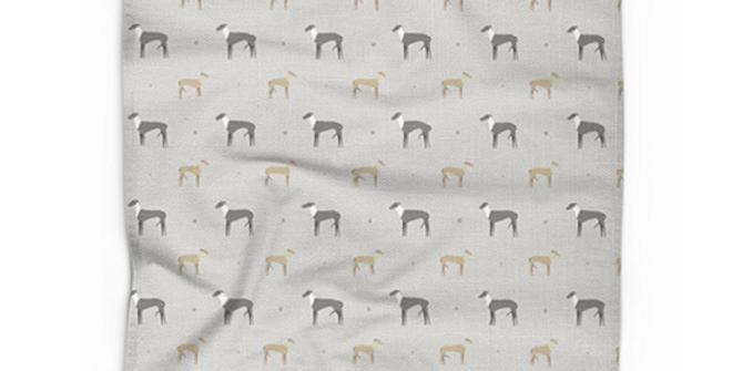 Cotton Linen Tea Towel - Graceful Greyhounds