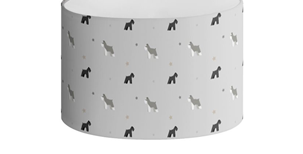 Grey Oval Lampshade - Snazzy Schnauzers
