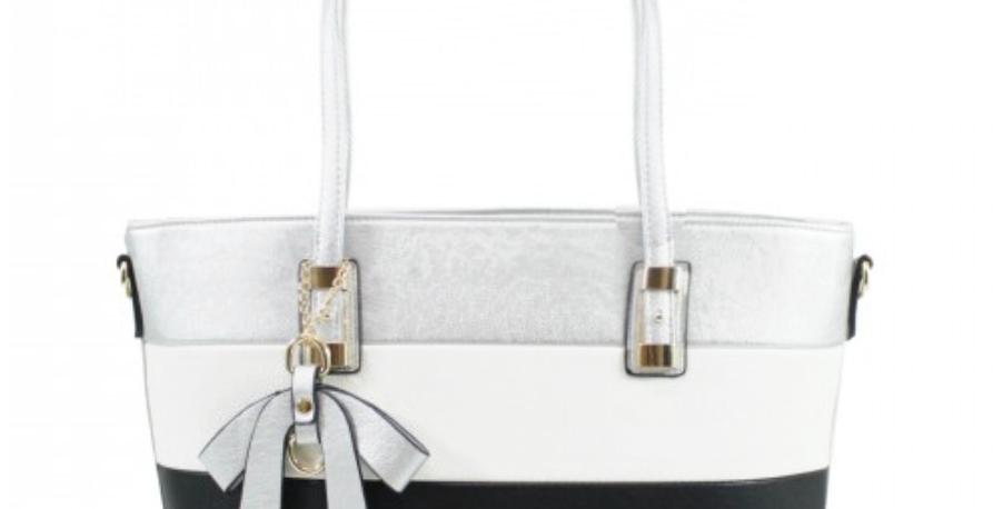 Geo Dog Stripe Shoulder Bag - Silver