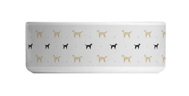 Grey Large Ceramic Dog Bowl - Lucky Labs