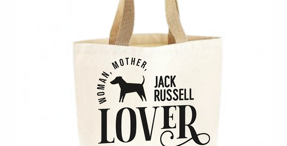 Classic Jute & Canvas Jack Russell Shopper