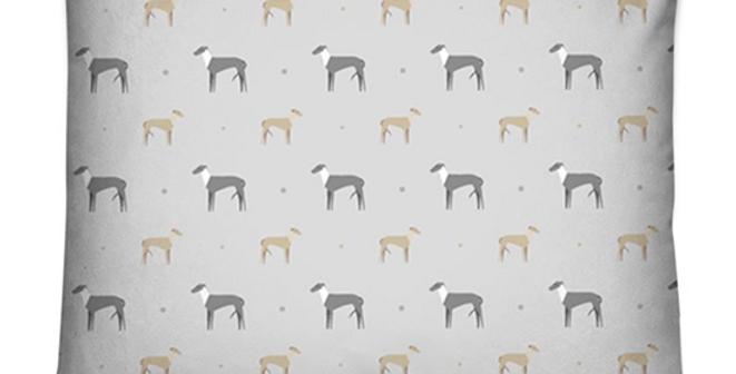 Grey Dog Bed Cushion - Graceful Greyhounds