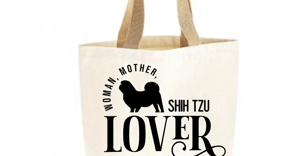 Classic Jute & Canvas Shih Tzu Shopper
