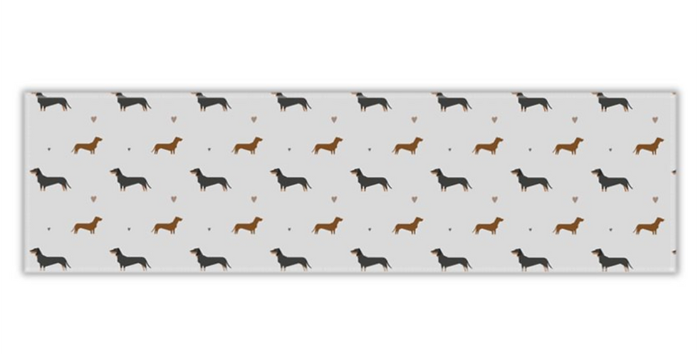 Grey Twill Table Runner - Slinky Sausages