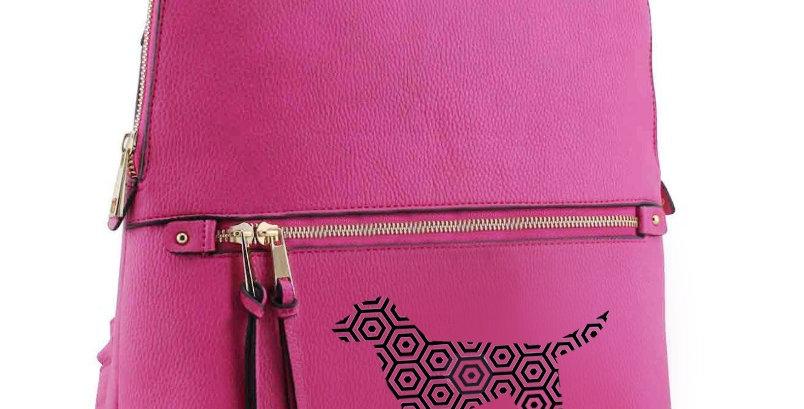 Pattern Dog  Designer Rucksack - Pink