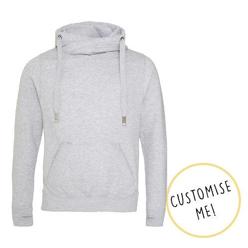 Plain or Custom Print Light Grey Cowl Neck Hoodie