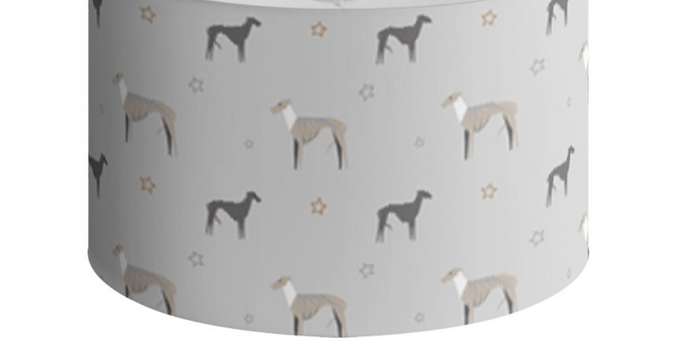 Grey Large Round Ceiling Shade - Whimsical Whippets