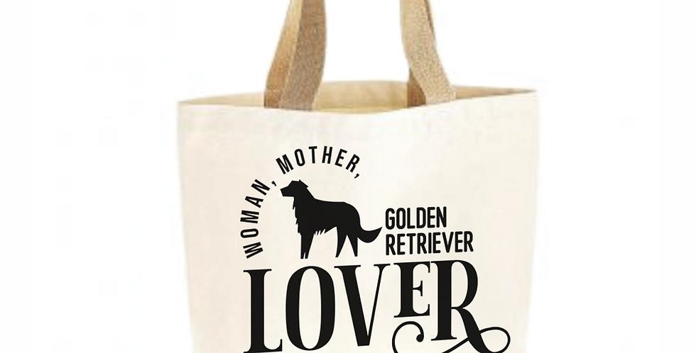 Classic Jute & Canvas Golden Retriever Shopper