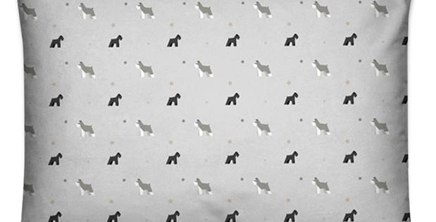 Grey Large Rectangular Cushion - Snazzy Schnauzers