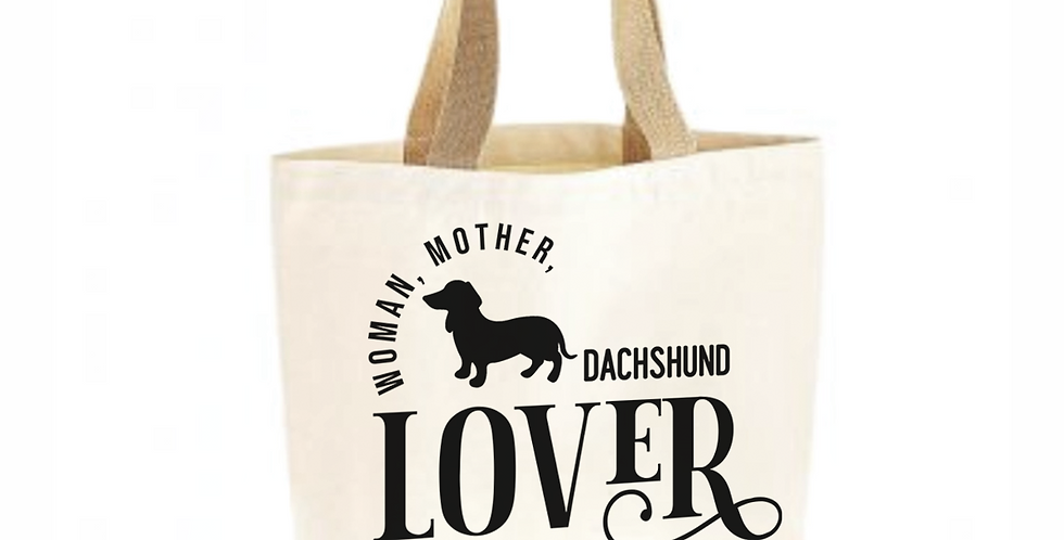 Classic Jute & Canvas Dachshund Shopper