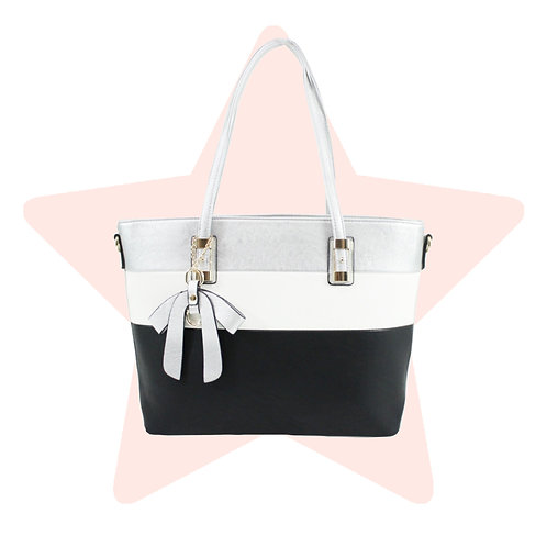 Silver Triple-Stripe Bow Bag
