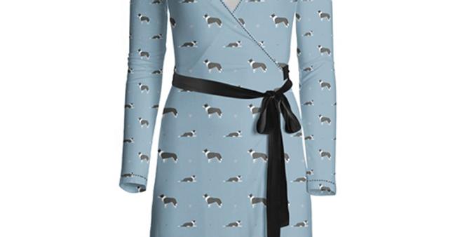 Multi Print Wrap Dress - Cool Collies