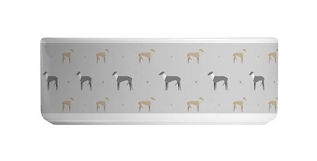 Grey Large Ceramic Dog Bowl - Graceful Greyhounds