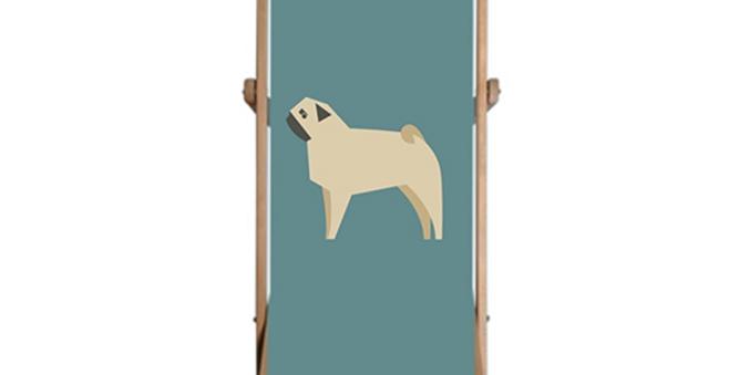 Single Deckchair - Perfectly Pug