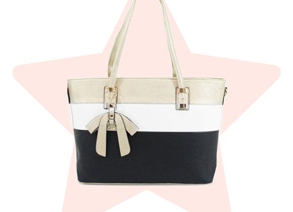 Gold Triple-Stripe Bow Bag