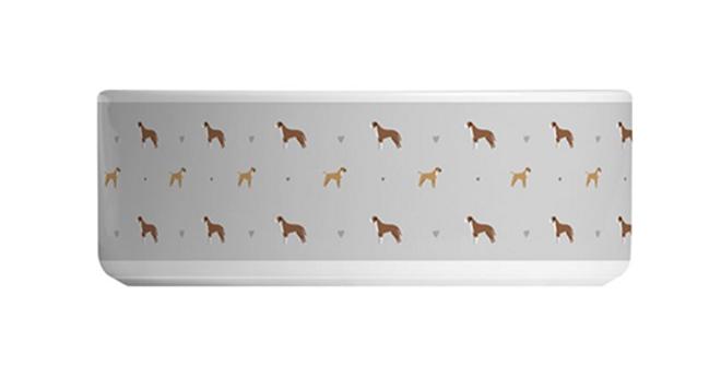 Grey Large Ceramic Dog Bowl - Bounding Boxers