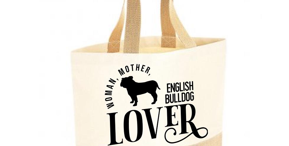 Classic Jute & Canvas English Bulldog Shopper