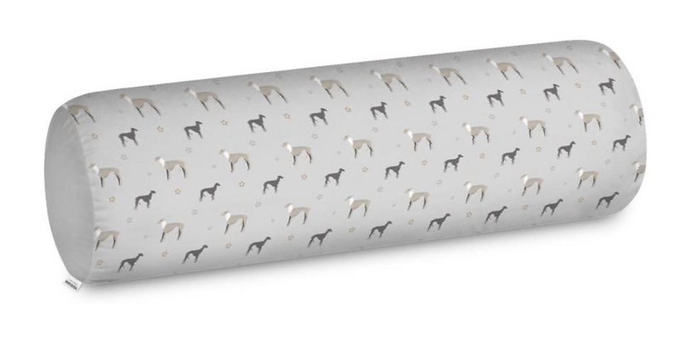 Grey Big Bolster Cushion - Whimsical Whippets