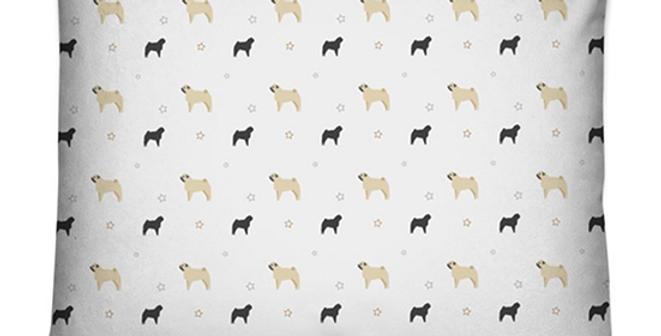 Grey Dog Bed Cushion - Perfectly Pug