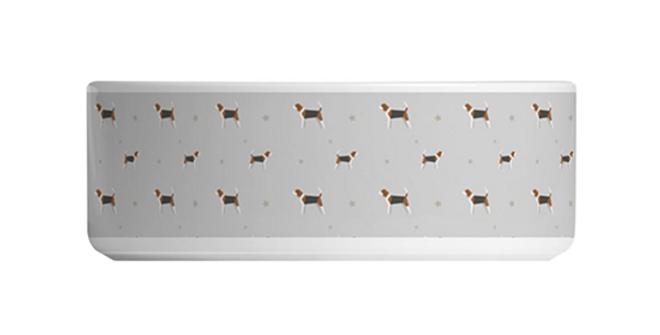 Grey Large Ceramic Dog Bowl - Busy Beagles