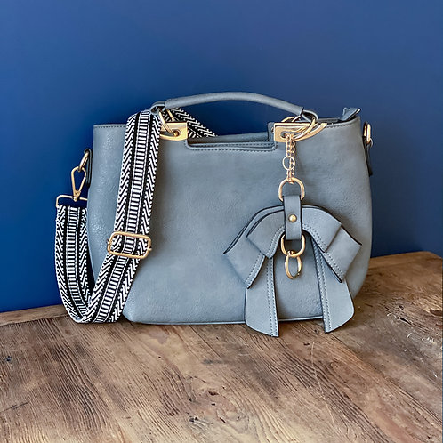 Bow Bag with Chevrons - Grey
