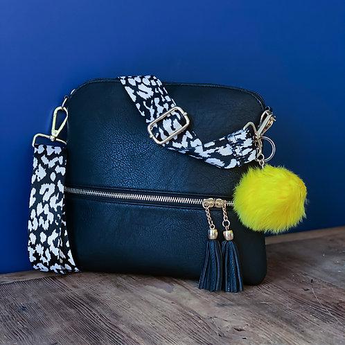 Yellow-Pop Monochrome Crossbody Bag - Black