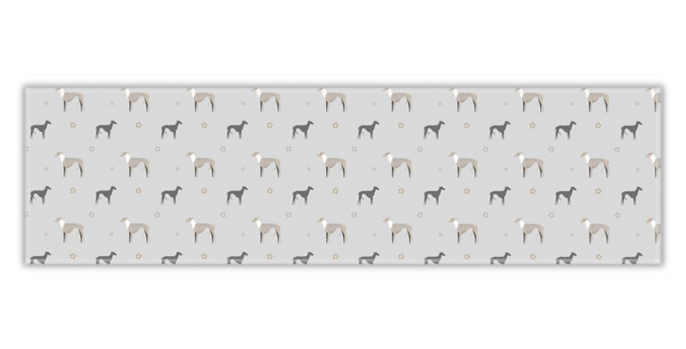 Grey Twill Table Runner - Whimsical Whippets