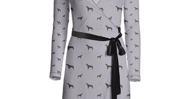 Multi Print Wrap Dress - Dazzling Dobermans
