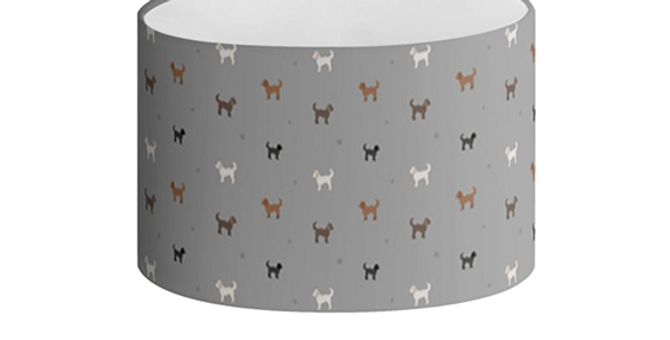 Grey Oval Lampshade - Clever Cockapoos