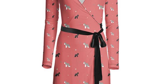 Multi Print Wrap Dress - Snazzy Schnauzers