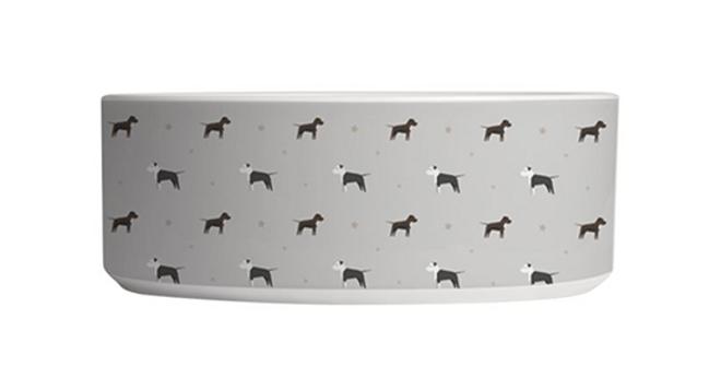 Grey Large Ceramic Dog Bowl - Sassy Staffies