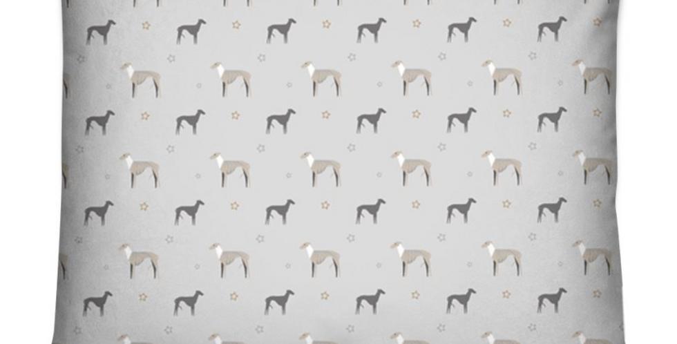Grey Dog Bed Cushion - Whimsical Whippets