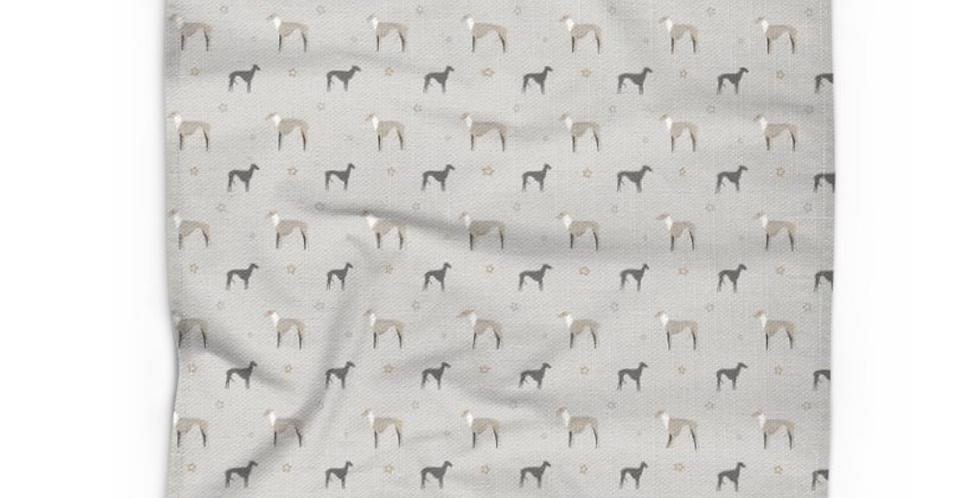 Grey Cotton Linen Tea Towel - Whimsical Whippets