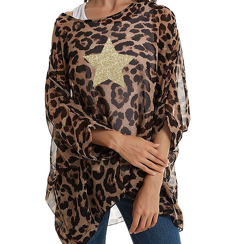 Semi Sheer Leopard Kaftan Top